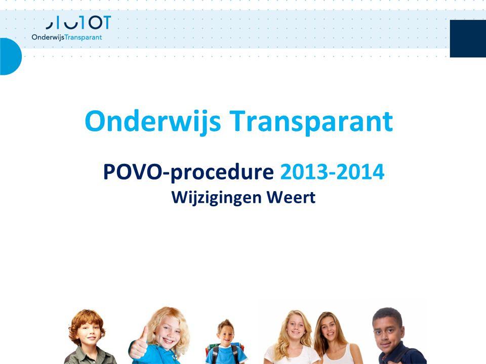 POVO-procedure 2013-2014 Wijzigingen Weert Onderwijs Transparant