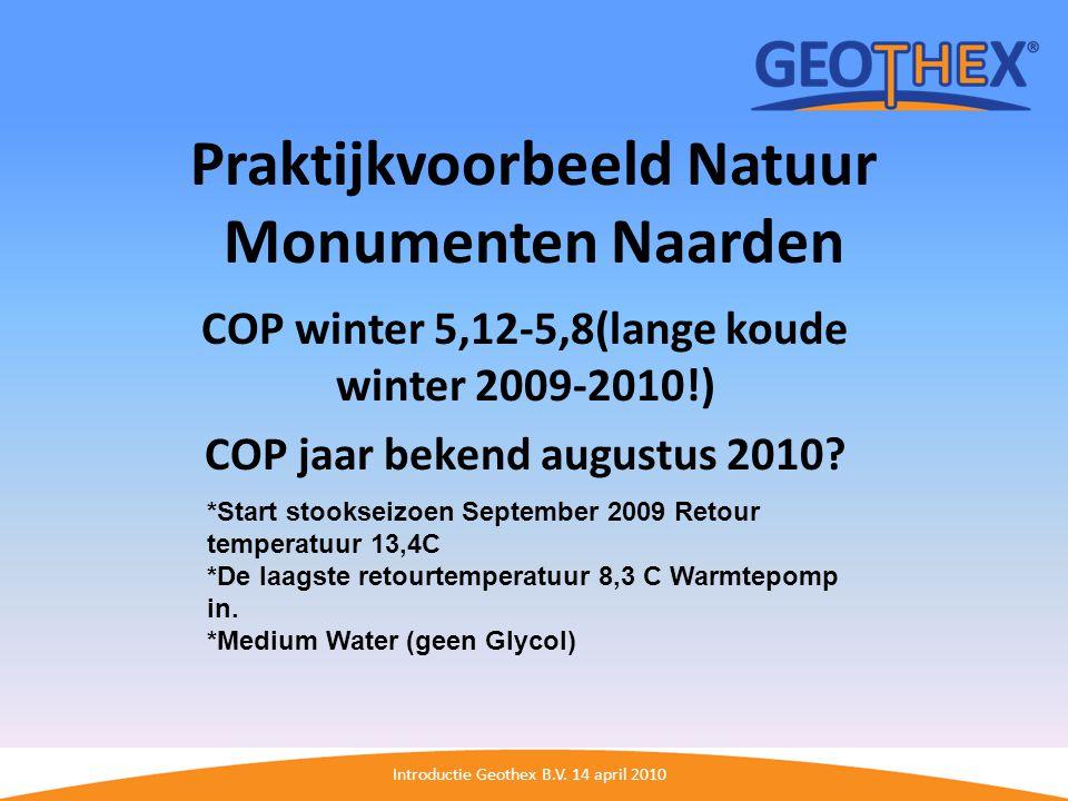 Introductie Geothex B.V. 14 april 2010 Praktijkvoorbeeld Natuur Monumenten Naarden COP winter 5,12-5,8(lange koude winter 2009-2010!) COP jaar bekend