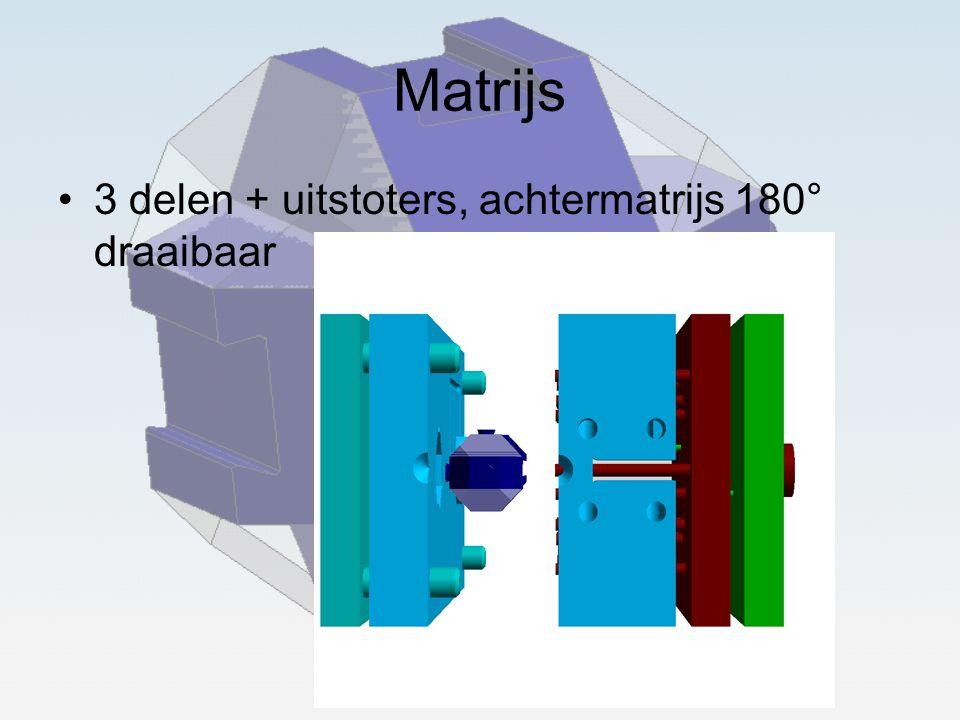 Matrijs 3 delen + uitstoters, achtermatrijs 180° draaibaar