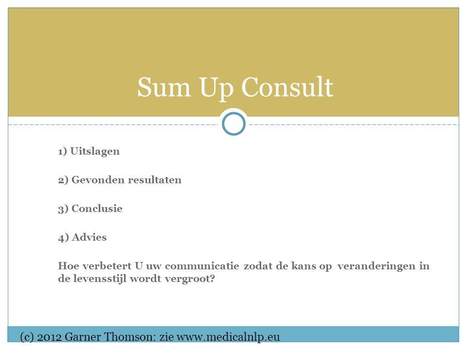 1) Uitslagen 2) Gevonden resultaten 3) Conclusie 4) Advies Hoe verbetert U uw communicatie zodat de kans op veranderingen in de levensstijl wordt vergroot.