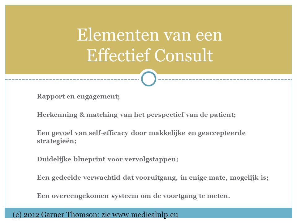 Rapport en engagement; Herkenning & matching van het perspectief van de patient; Een gevoel van self-efficacy door makkelijke en geaccepteerde strategieën; Duidelijke blueprint voor vervolgstappen; Een gedeelde verwachtid dat vooruitgang, in enige mate, mogelijk is; Een overeengekomen systeem om de voortgang te meten.