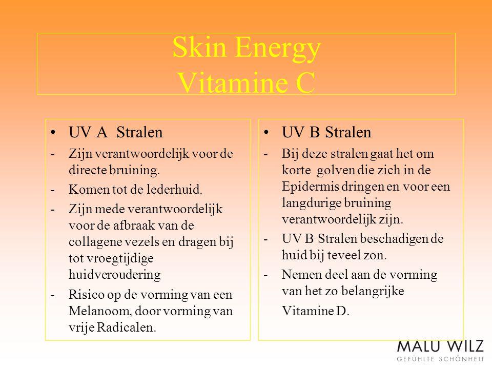 Skin Energy Vitamine C UV A Stralen -Zijn verantwoordelijk voor de directe bruining. -Komen tot de lederhuid. -Zijn mede verantwoordelijk voor de afbr