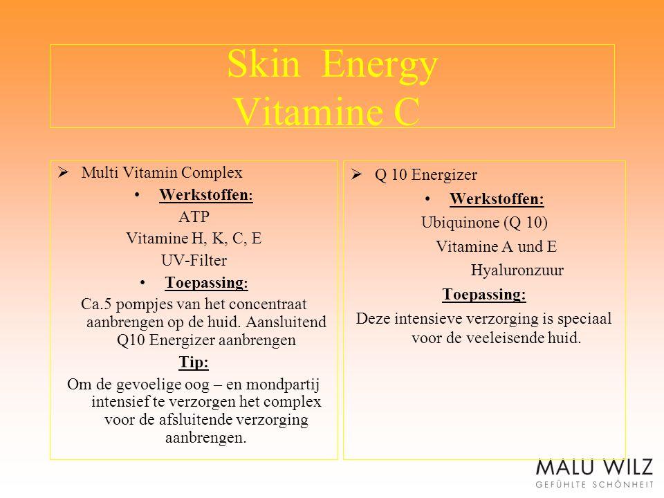 Skin Energy Vitamine C  Multi Vitamin Complex Werkstoffen : ATP Vitamine H, K, C, E UV-Filter Toepassing : Ca.5 pompjes van het concentraat aanbrenge