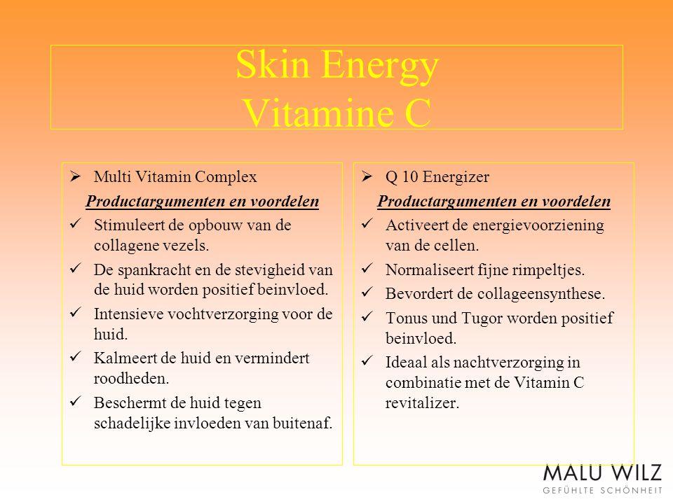 Skin Energy Vitamine C  Multi Vitamin Complex Productargumenten en voordelen Stimuleert de opbouw van de collagene vezels. De spankracht en de stevig