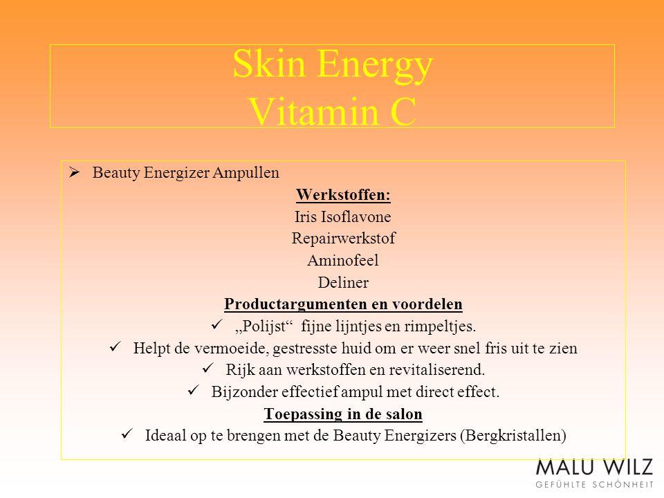 """Skin Energy Vitamin C  Beauty Energizer Ampullen Werkstoffen: Iris Isoflavone Repairwerkstof Aminofeel Deliner Productargumenten en voordelen """"Polijs"""