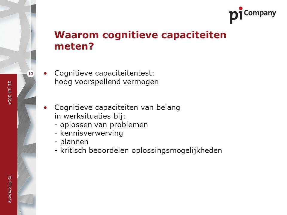 © PiCompany 22 juli 2014 13 Waarom cognitieve capaciteiten meten? Cognitieve capaciteitentest: hoog voorspellend vermogen Cognitieve capaciteiten van