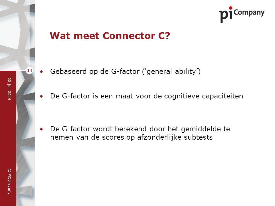 © PiCompany 22 juli 2014 14 Wat meet Connector C? Gebaseerd op de G-factor ('general ability') De G-factor is een maat voor de cognitieve capaciteiten