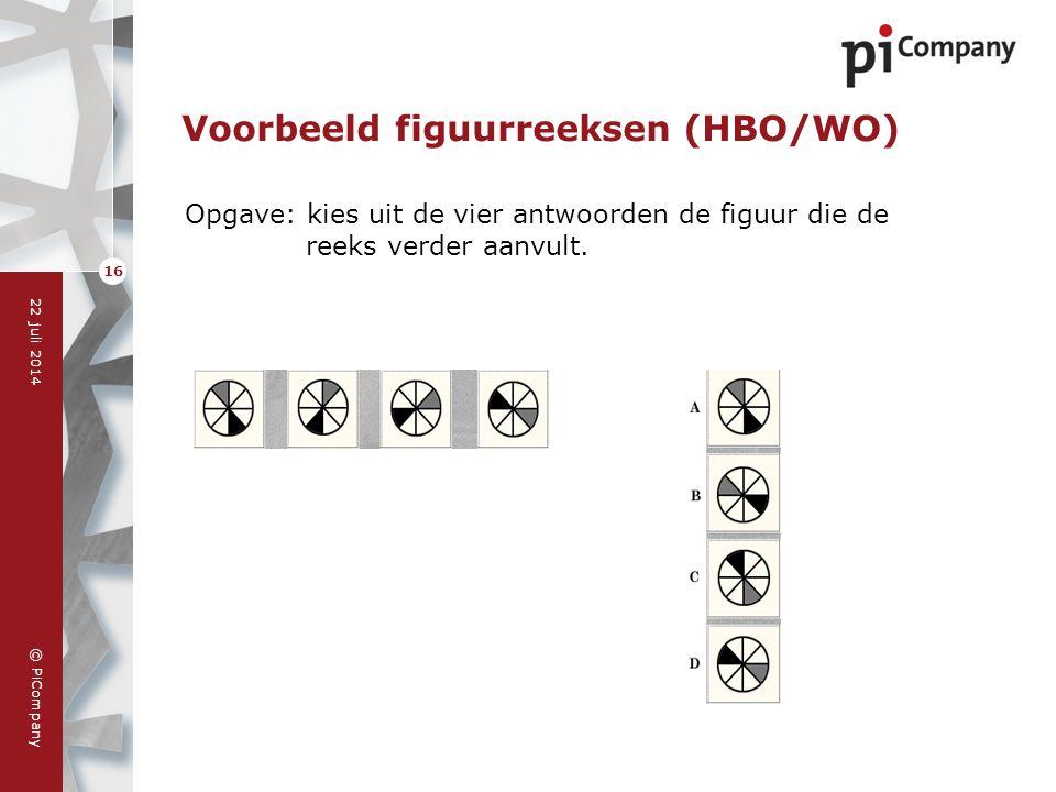 © PiCompany 22 juli 2014 16 Voorbeeld figuurreeksen (HBO/WO) Opgave: kies uit de vier antwoorden de figuur die de reeks verder aanvult.