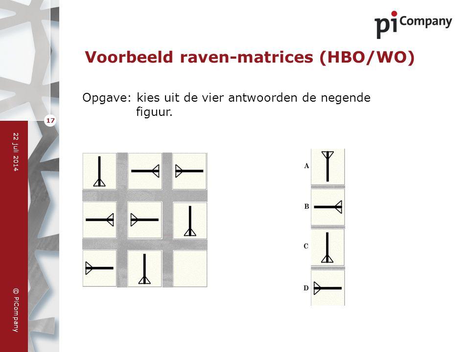 © PiCompany 22 juli 2014 17 Voorbeeld raven-matrices (HBO/WO) Opgave: kies uit de vier antwoorden de negende figuur.