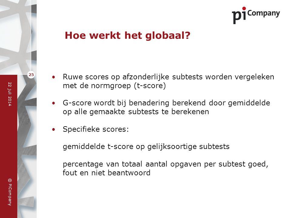 © PiCompany 22 juli 2014 25 Hoe werkt het globaal? Ruwe scores op afzonderlijke subtests worden vergeleken met de normgroep (t-score) G-score wordt bi