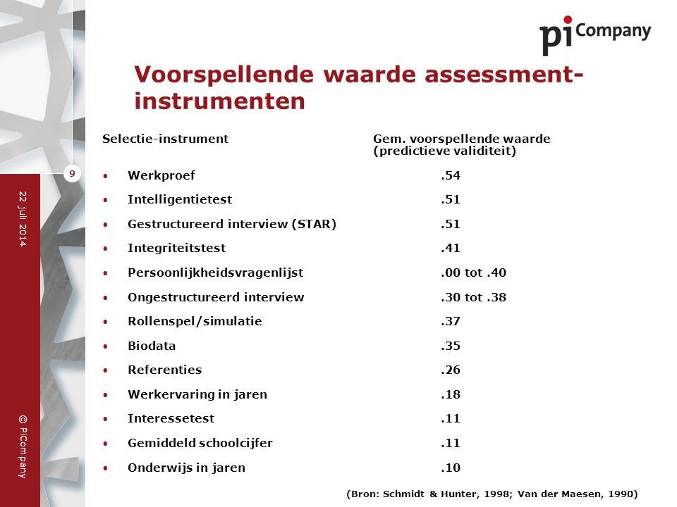 © PiCompany 22 juli 2014 9 Selectie-instrumentGem. voorspellende waarde (predictieve validiteit) Werkproef.54 Intelligentietest.51 Gestructureerd inte