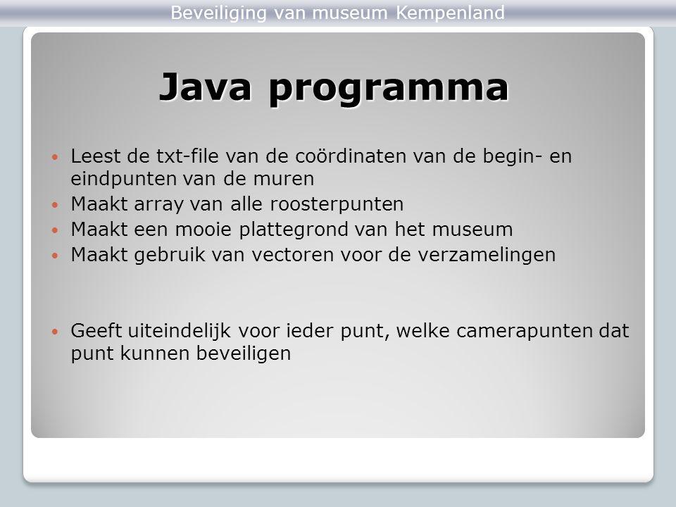 Beveiliging van museum Kempenland Leest de txt-file van de coördinaten van de begin- en eindpunten van de muren Maakt array van alle roosterpunten Maa