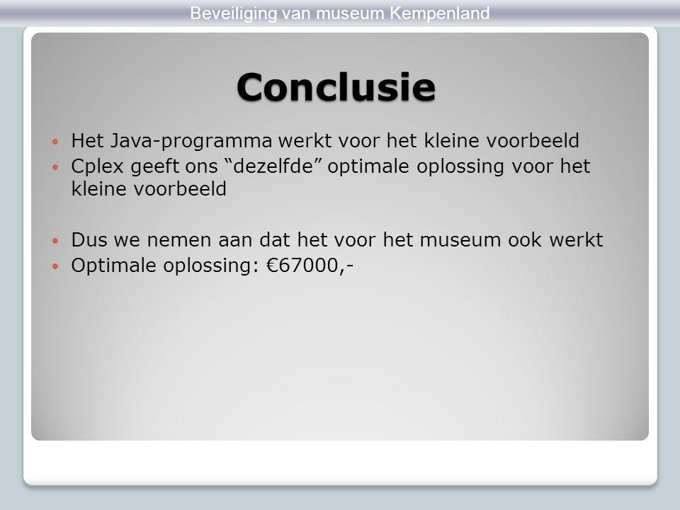 """Conclusie Zandloper Beveiliging van museum Kempenland Het Java-programma werkt voor het kleine voorbeeld Cplex geeft ons """"dezelfde"""" optimale oplossing"""