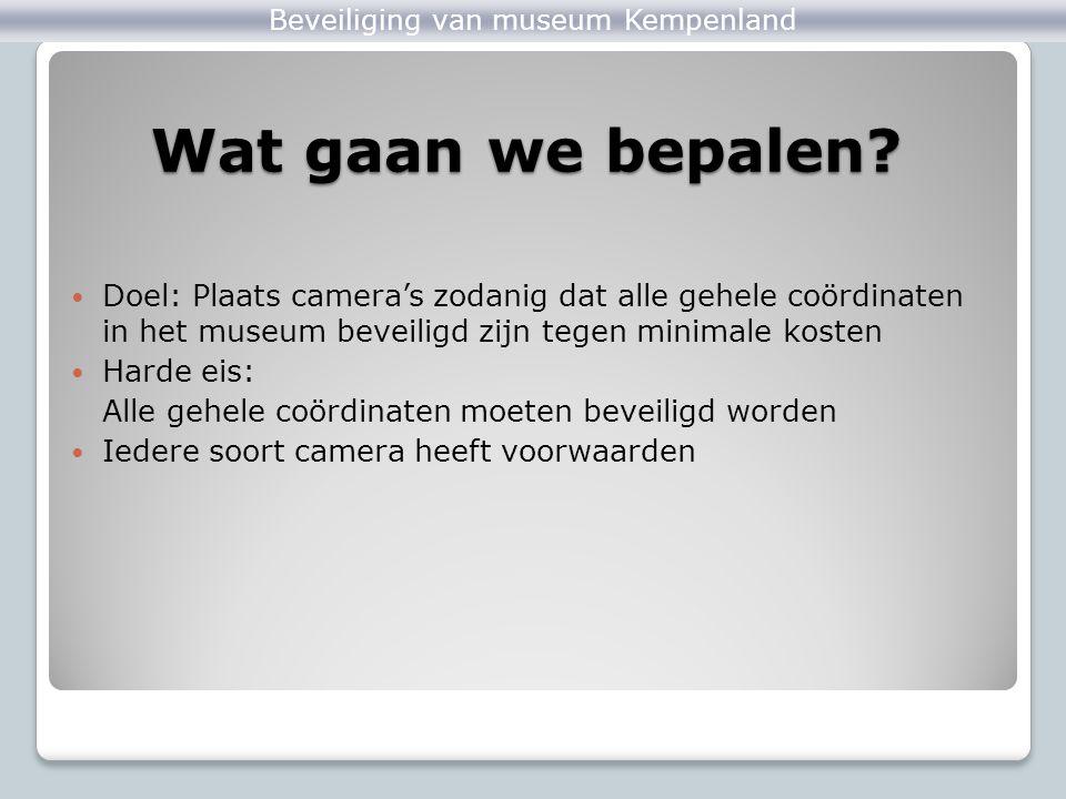 Voorbeeld Zandloper Beveiliging van museum Kempenland Met behulp van het programma: Een optimale oplossing is: ◦90°-camera met coördinaten ((0,0), 0, 90) ◦90°-camera met coördinaten ((3,0), 90, 180) Minimale kosten: ◦2 x €3000,- = €6000,-