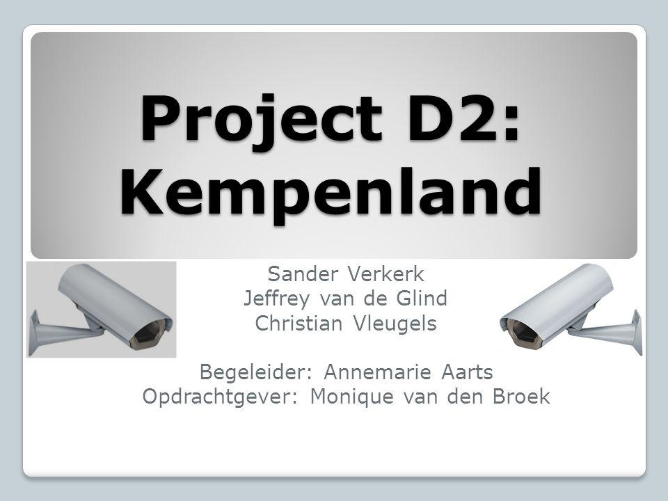 Project D2: Kempenland Sander Verkerk Jeffrey van de Glind Christian Vleugels Begeleider: Annemarie Aarts Opdrachtgever: Monique van den Broek