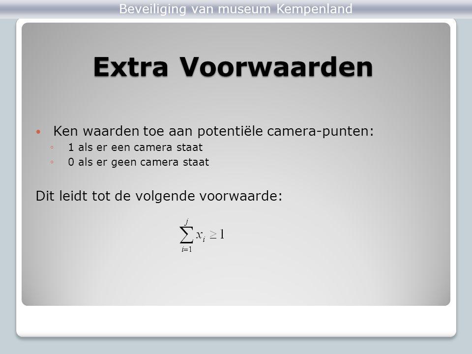 Extra Voorwaarden Ken waarden toe aan potentiële camera-punten: ◦1 als er een camera staat ◦0 als er geen camera staat Dit leidt tot de volgende voorw