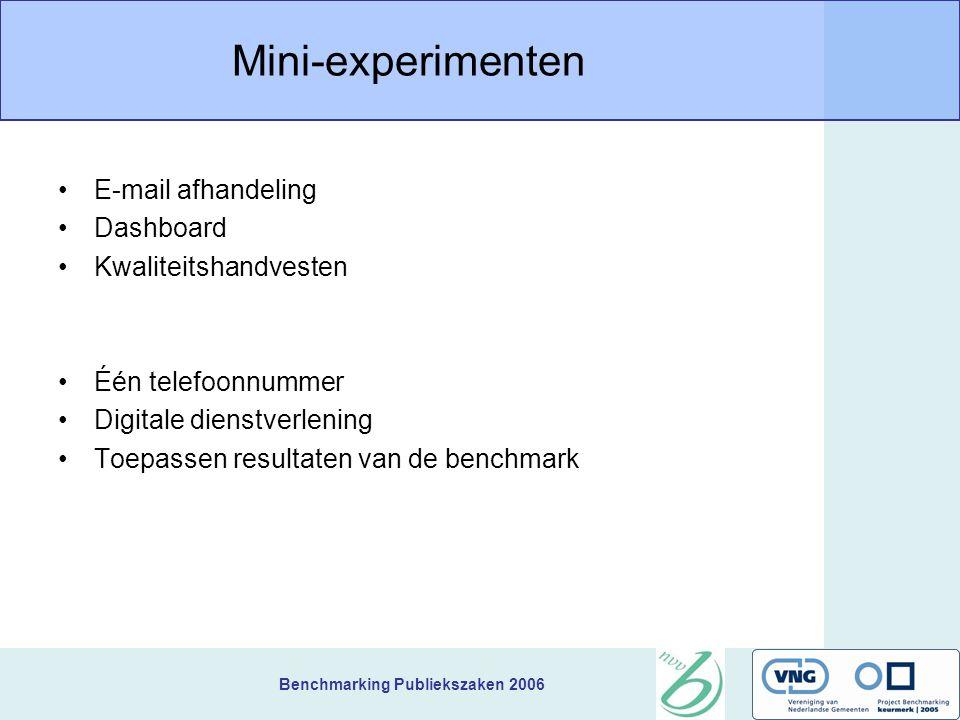 Benchmarking Publiekszaken 2006 Mini-experimenten E-mail afhandeling Dashboard Kwaliteitshandvesten Één telefoonnummer Digitale dienstverlening Toepassen resultaten van de benchmark