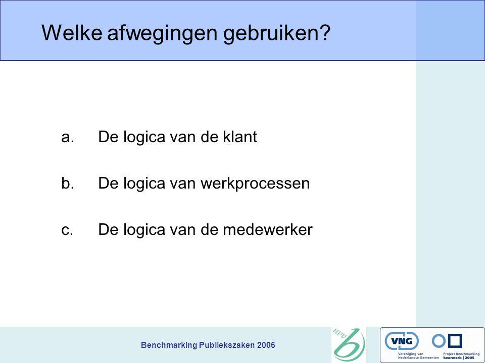Benchmarking Publiekszaken 2006 Welke afwegingen gebruiken.