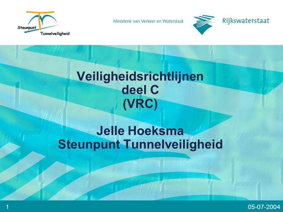 Veiligheidsrichtlijnen deel C (VRC) Jelle Hoeksma Steunpunt Tunnelveiligheid 105-07-2004