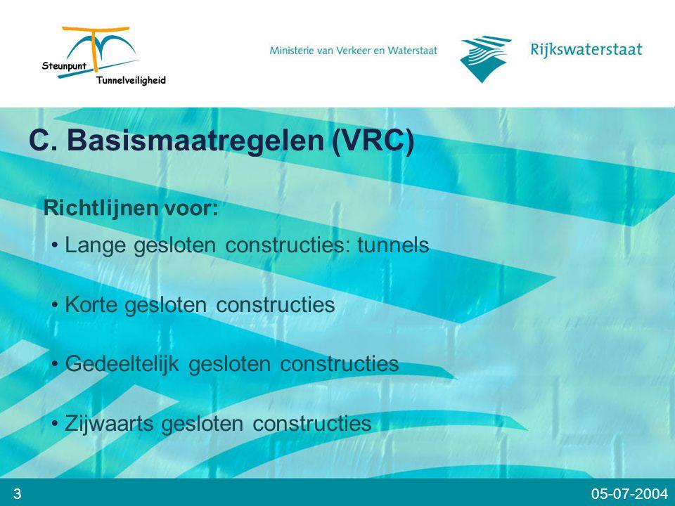 C. Basismaatregelen (VRC) 3 Richtlijnen voor: Lange gesloten constructies: tunnels Korte gesloten constructies Gedeeltelijk gesloten constructies Zijw