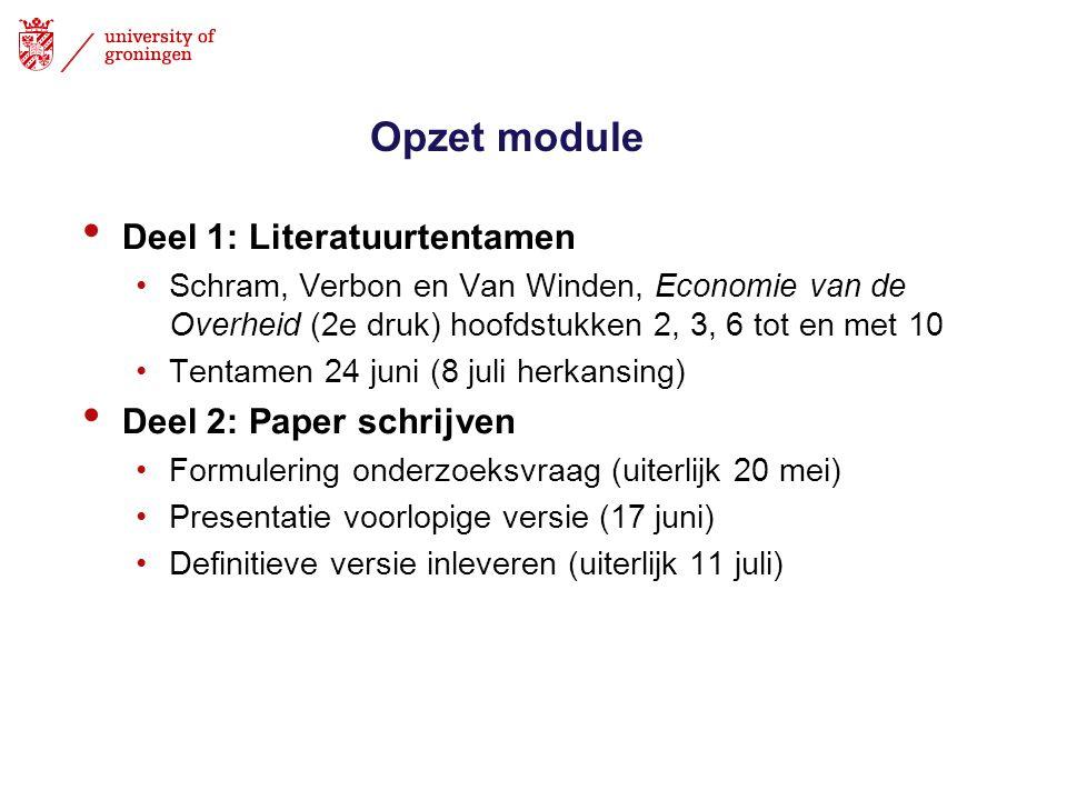 Opzet module Deel 1: Literatuurtentamen Schram, Verbon en Van Winden, Economie van de Overheid (2e druk) hoofdstukken 2, 3, 6 tot en met 10 Tentamen 2