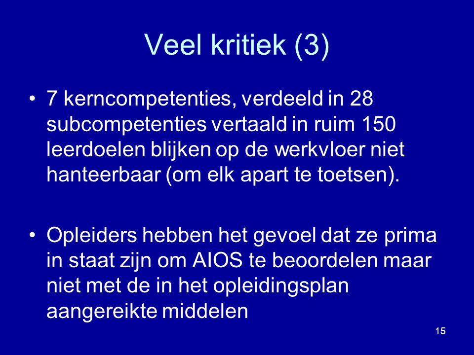 Veel kritiek (3) 7 kerncompetenties, verdeeld in 28 subcompetenties vertaald in ruim 150 leerdoelen blijken op de werkvloer niet hanteerbaar (om elk a