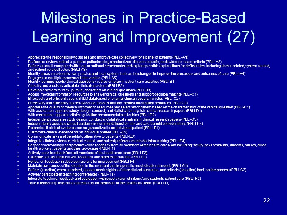 Milestones in Practice-Based Learning and Improvement (27) Appreciate the responsibility to assess and improve care collectively for a panel of patien