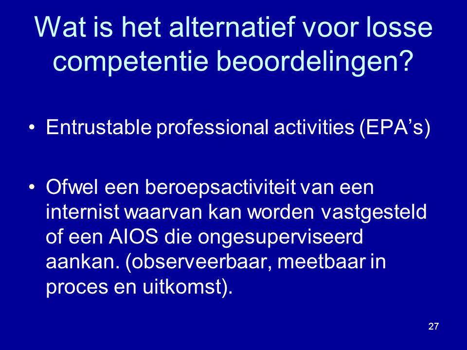 Wat is het alternatief voor losse competentie beoordelingen? Entrustable professional activities (EPA's) Ofwel een beroepsactiviteit van een internist