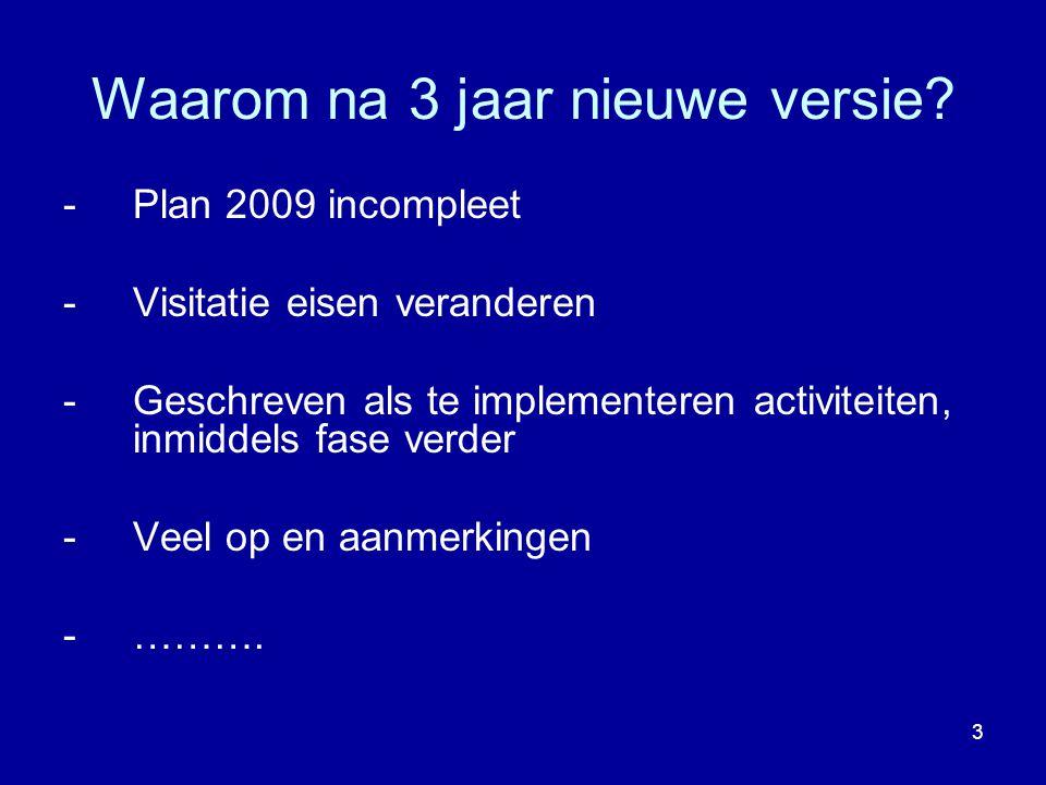 Waarom na 3 jaar nieuwe versie? -Plan 2009 incompleet -Visitatie eisen veranderen -Geschreven als te implementeren activiteiten, inmiddels fase verder