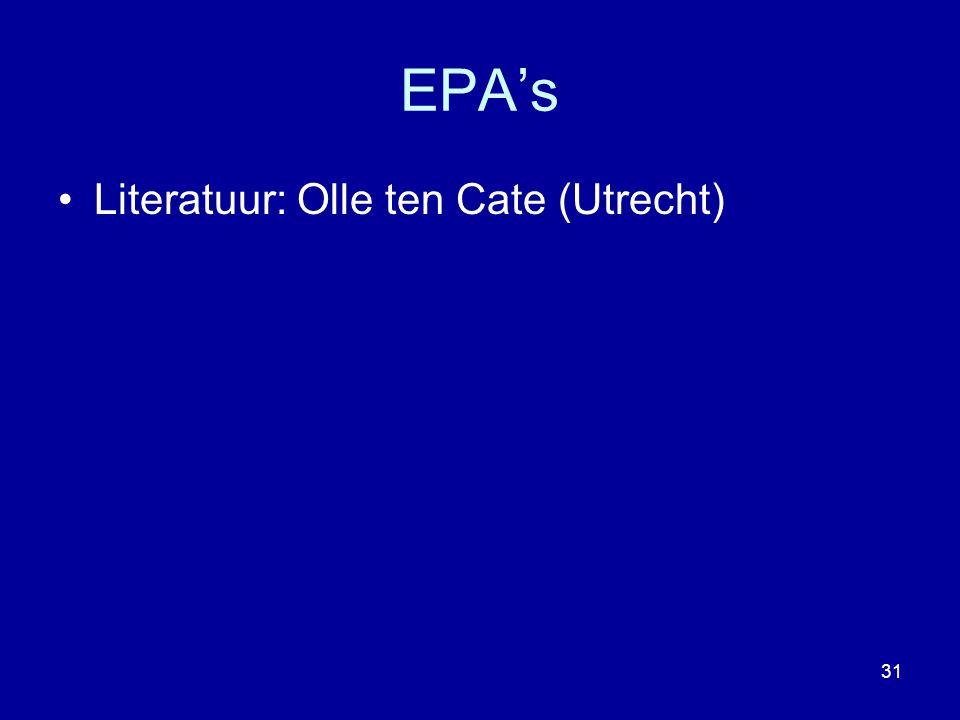EPA's Literatuur: Olle ten Cate (Utrecht) 31