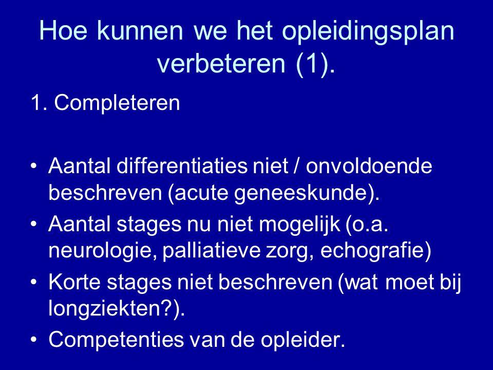 Hoe kunnen we het opleidingsplan verbeteren (1). 1. Completeren Aantal differentiaties niet / onvoldoende beschreven (acute geneeskunde). Aantal stage