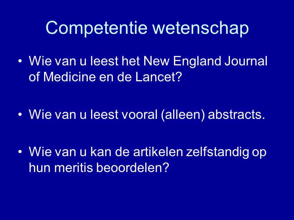 Competentie wetenschap Wie van u leest het New England Journal of Medicine en de Lancet? Wie van u leest vooral (alleen) abstracts. Wie van u kan de a