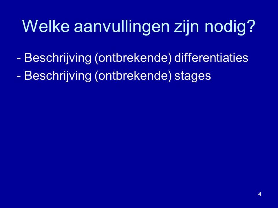 Welke aanvullingen zijn nodig? - Beschrijving (ontbrekende) differentiaties - Beschrijving (ontbrekende) stages 4