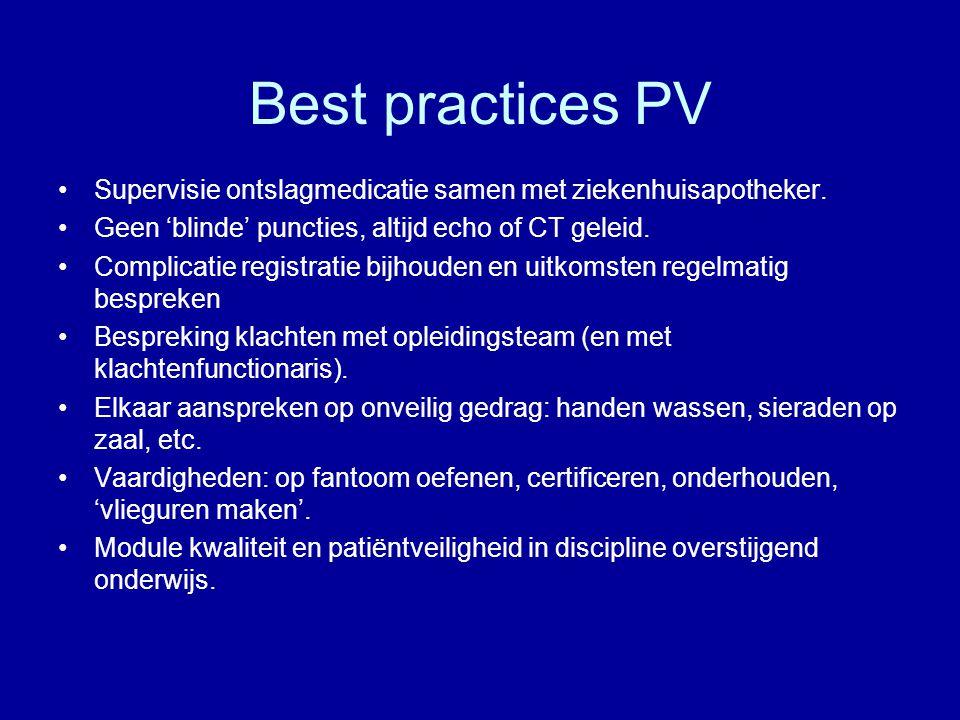 Best practices PV Supervisie ontslagmedicatie samen met ziekenhuisapotheker. Geen 'blinde' puncties, altijd echo of CT geleid. Complicatie registratie