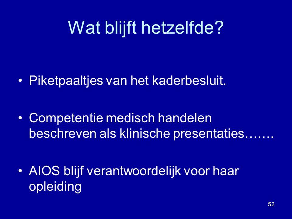 Piketpaaltjes van het kaderbesluit. Competentie medisch handelen beschreven als klinische presentaties……. AIOS blijf verantwoordelijk voor haar opleid