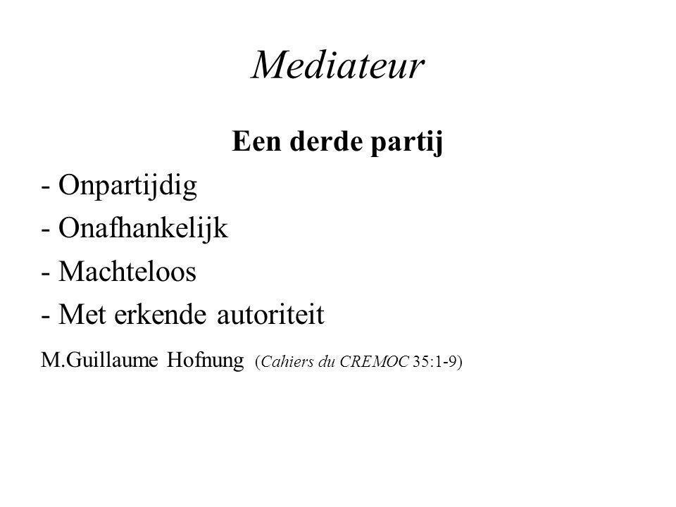 Mediateur Mediateur vs scheidsrechter Mediateur = schepper Se donner un médiateur c'est ouvrir une perspective, créer les conditions d'un avenir. G.Zarate & D.Lévy Le fdlm janvier 2003: 186