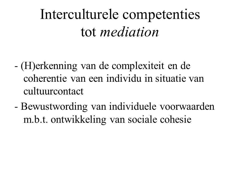 Interculturele competenties tot mediation - (H)erkenning van de complexiteit en de coherentie van een individu in situatie van cultuurcontact - Bewustwording van individuele voorwaarden m.b.t.
