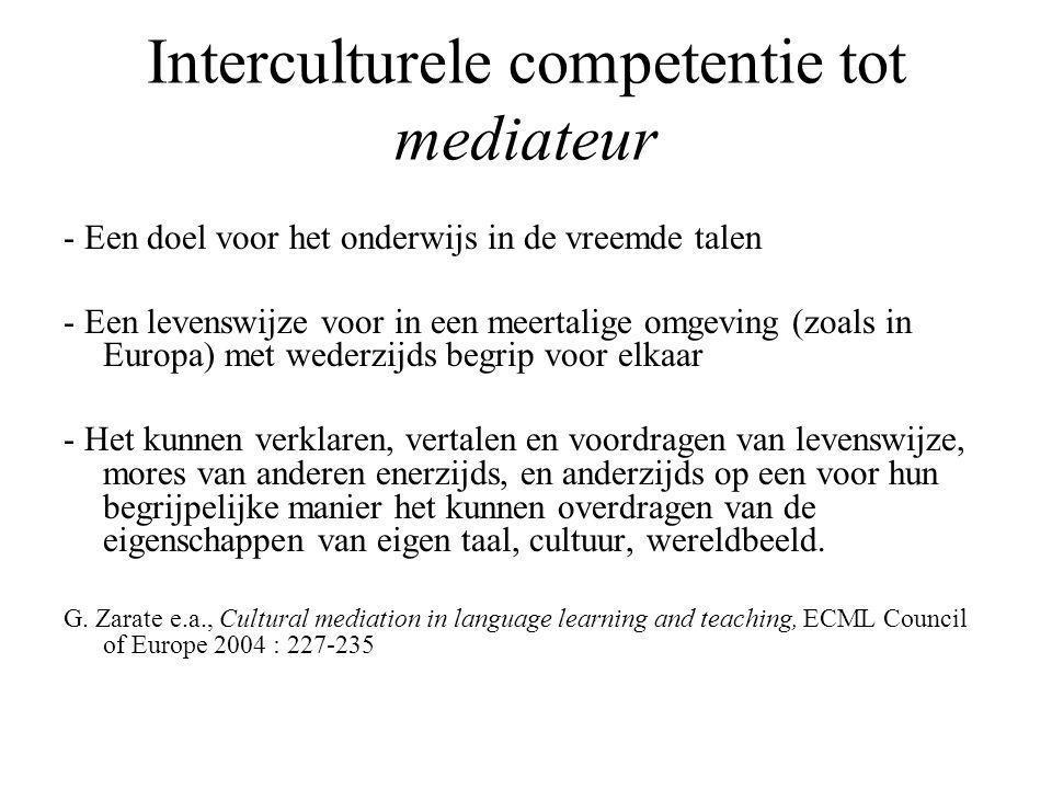 Interculturele competentie tot mediateur - Een doel voor het onderwijs in de vreemde talen - Een levenswijze voor in een meertalige omgeving (zoals in Europa) met wederzijds begrip voor elkaar - Het kunnen verklaren, vertalen en voordragen van levenswijze, mores van anderen enerzijds, en anderzijds op een voor hun begrijpelijke manier het kunnen overdragen van de eigenschappen van eigen taal, cultuur, wereldbeeld.