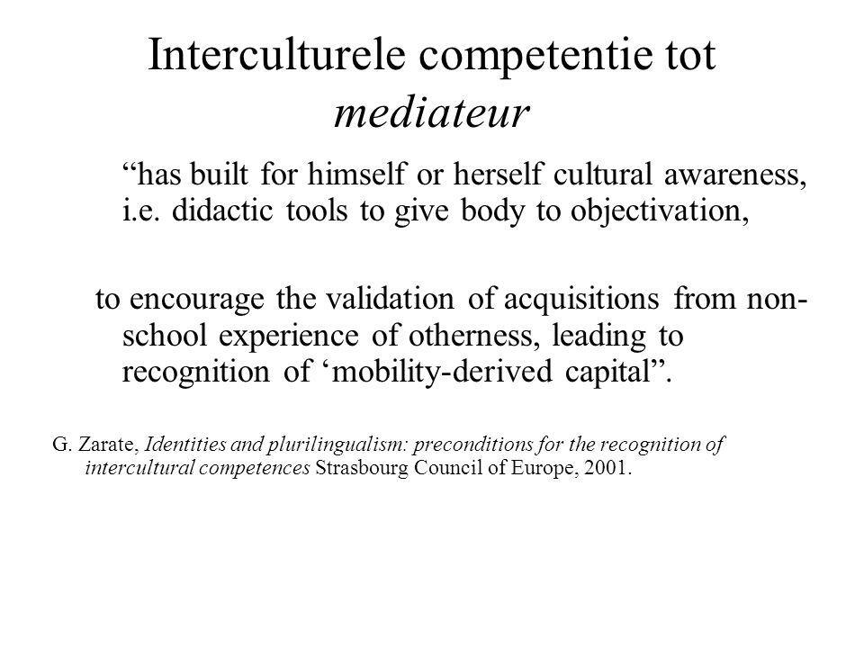 Interculturele competentie tot mediateur has built for himself or herself cultural awareness, i.e.
