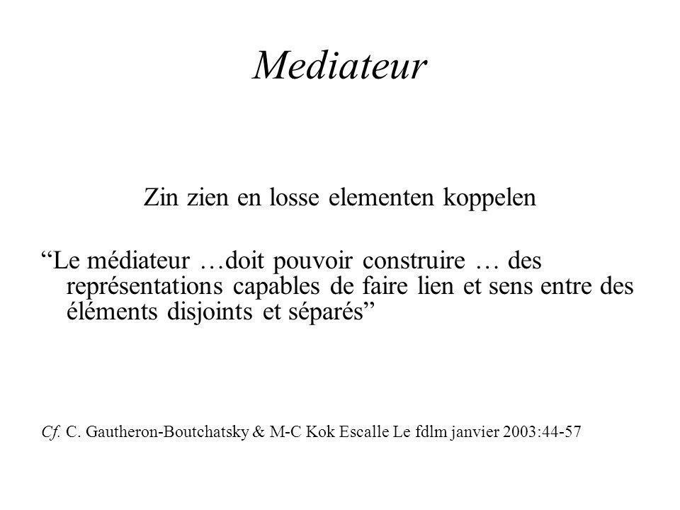 Mediateur Zin zien en losse elementen koppelen Le médiateur …doit pouvoir construire … des représentations capables de faire lien et sens entre des éléments disjoints et séparés Cf.