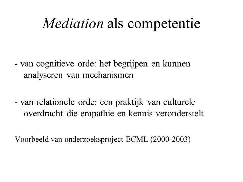 Mediation als competentie - van cognitieve orde: het begrijpen en kunnen analyseren van mechanismen - van relationele orde: een praktijk van culturele overdracht die empathie en kennis veronderstelt Voorbeeld van onderzoeksproject ECML (2000-2003)