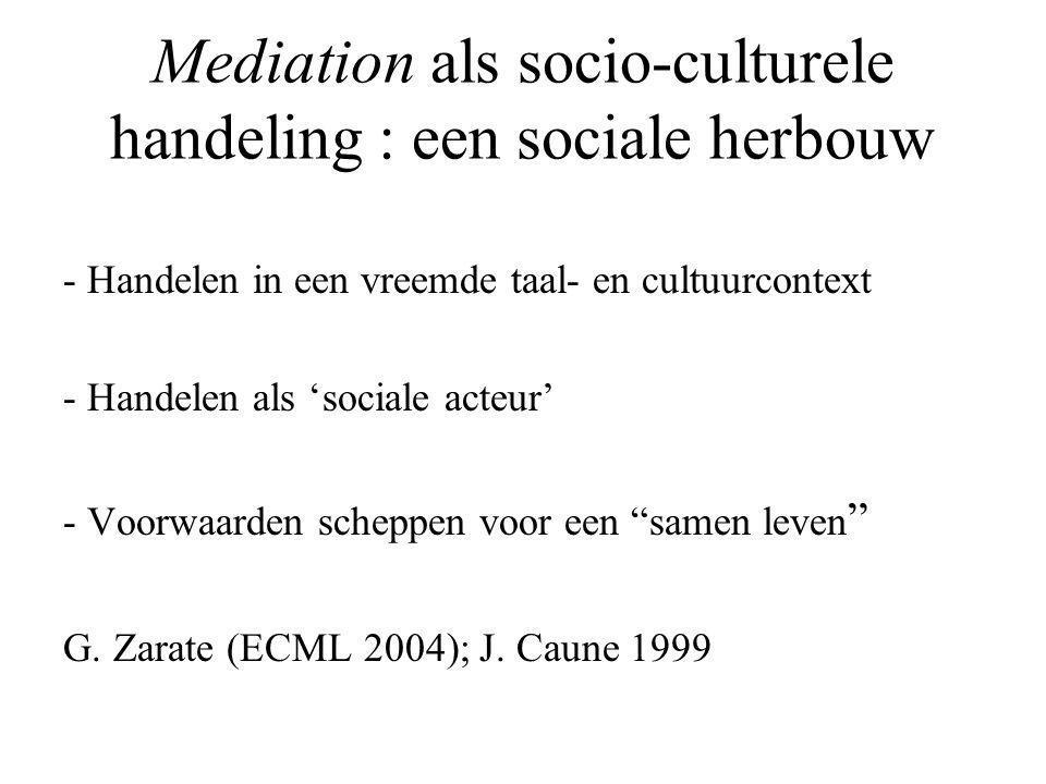 Mediation als socio-culturele handeling : een sociale herbouw - Handelen in een vreemde taal- en cultuurcontext - Handelen als 'sociale acteur' - Voorwaarden scheppen voor een samen leven G.