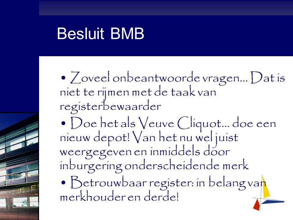 Besluit BMB Zoveel onbeantwoorde vragen… Dat is niet te rijmen met de taak van registerbewaarder Doe het als Veuve Cliquot… doe een nieuw depot.