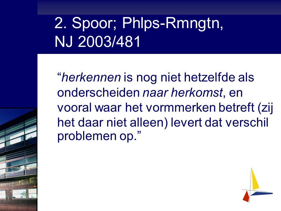 """2. Spoor; Phlps-Rmngtn, NJ 2003/481 """"herkennen is nog niet hetzelfde als onderscheiden naar herkomst, en vooral waar het vormmerken betreft (zij het d"""