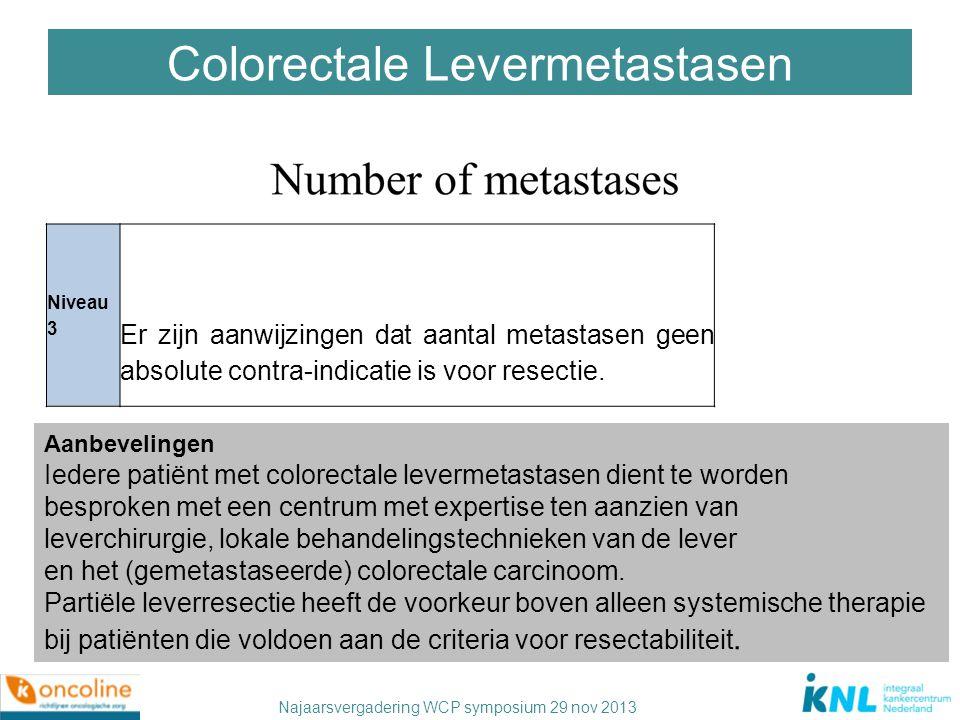 Najaarsvergadering WCP symposium 29 nov 2013 Colorectale Levermetastasen Niveau 3 Er zijn aanwijzingen dat aantal metastasen geen absolute contra-indi