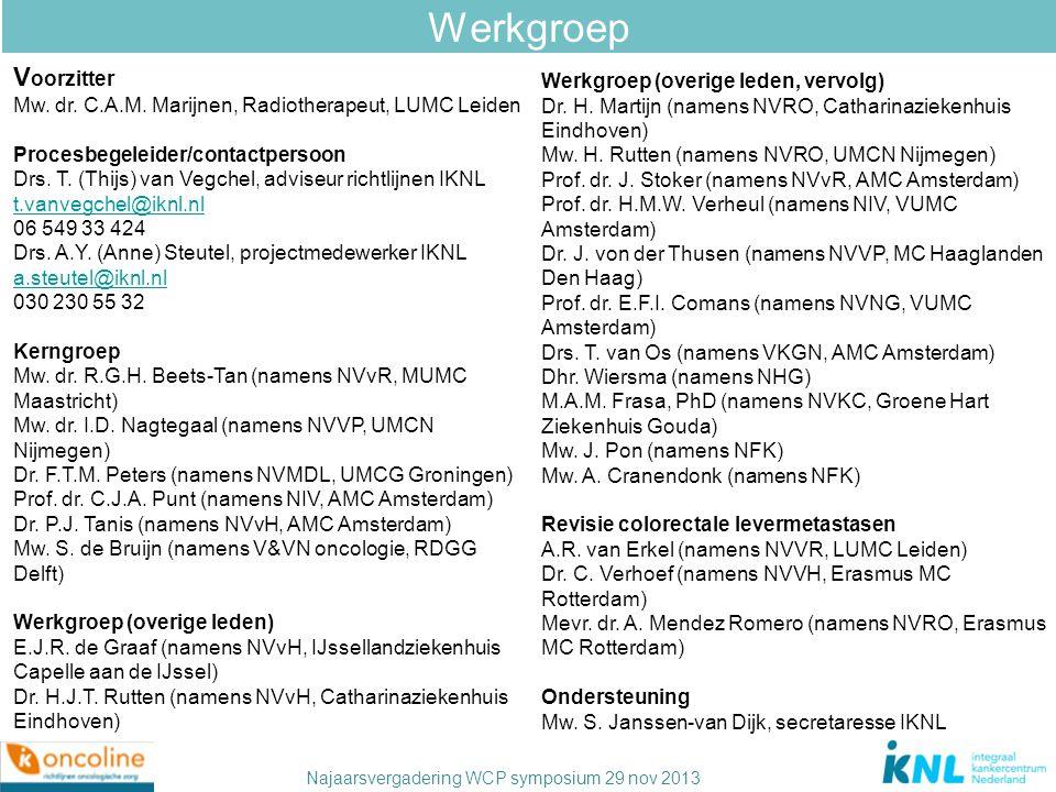 Najaarsvergadering WCP symposium 29 nov 2013 Werkgroep Werkgroep (overige leden, vervolg) Dr. H. Martijn (namens NVRO, Catharinaziekenhuis Eindhoven)