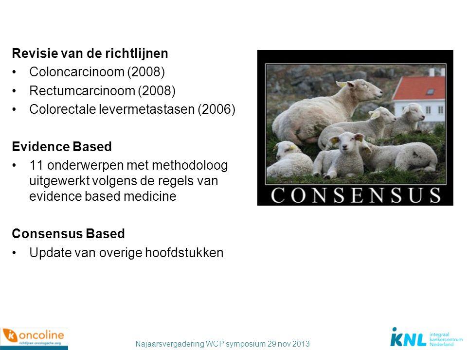 Najaarsvergadering WCP symposium 29 nov 2013 Revisie van de richtlijnen Coloncarcinoom (2008) Rectumcarcinoom (2008) Colorectale levermetastasen (2006