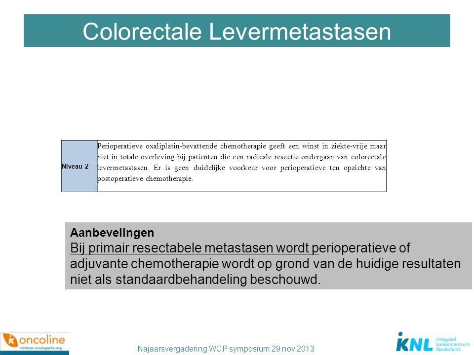 Najaarsvergadering WCP symposium 29 nov 2013 Niveau 2 Perioperatieve oxaliplatin-bevattende chemotherapie geeft een winst in ziekte-vrije maar niet in
