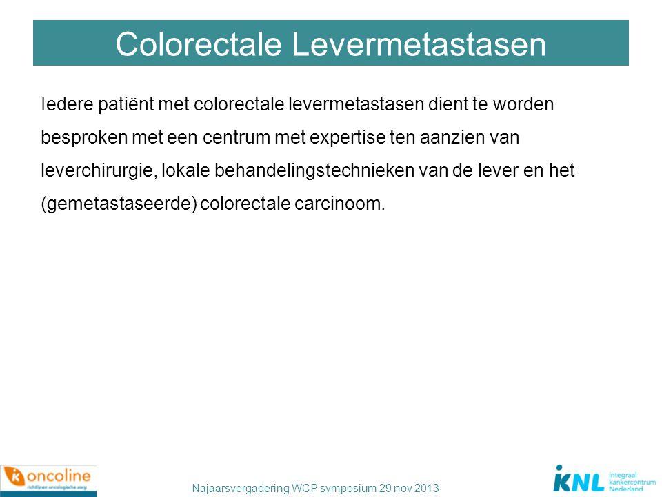 Najaarsvergadering WCP symposium 29 nov 2013 Colorectale Levermetastasen Iedere patiënt met colorectale levermetastasen dient te worden besproken met