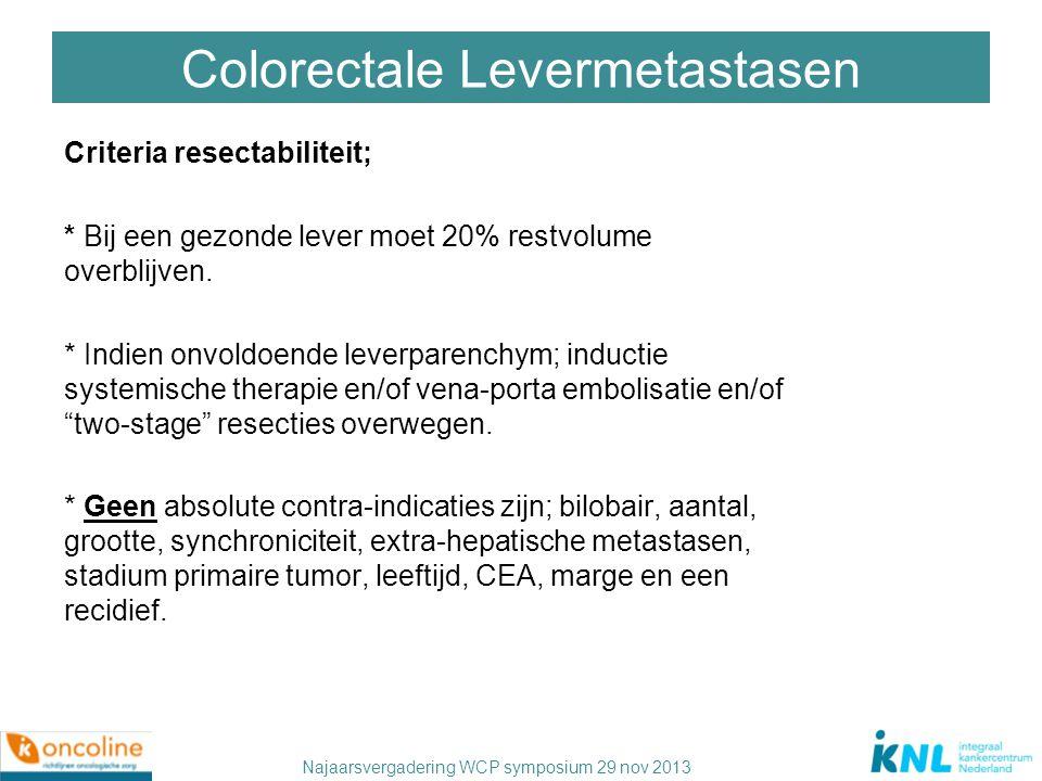 Najaarsvergadering WCP symposium 29 nov 2013 Colorectale Levermetastasen Criteria resectabiliteit; * Bij een gezonde lever moet 20% restvolume overbli